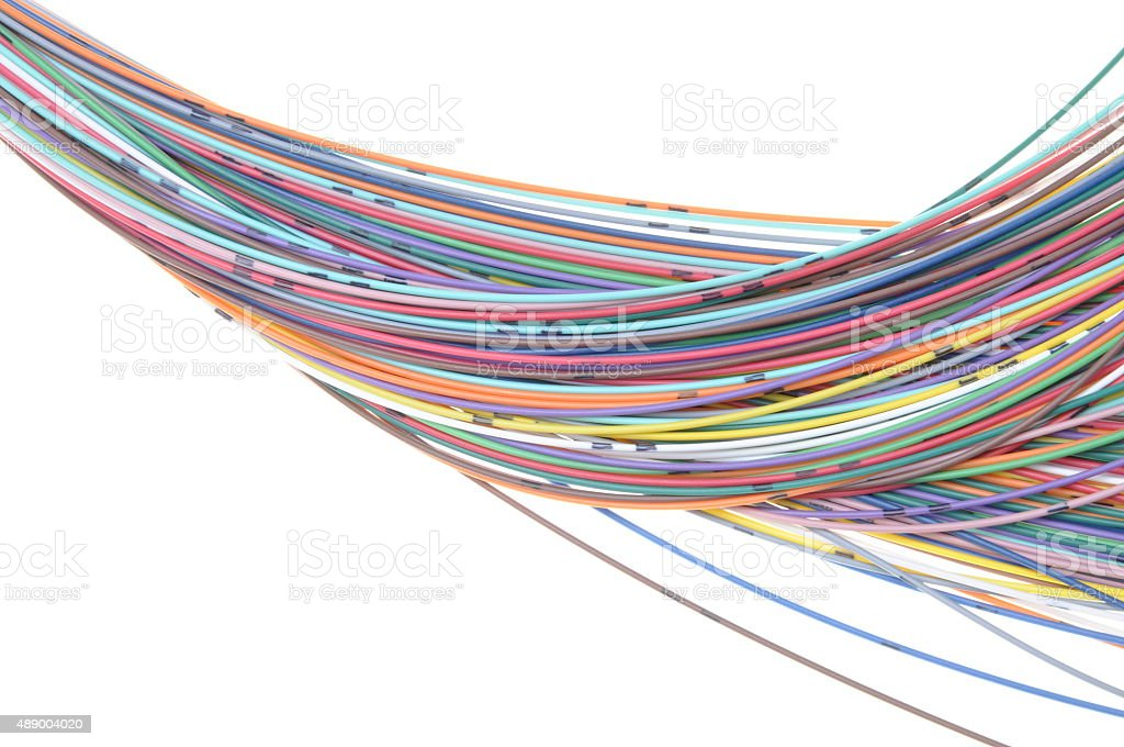 Multicolored fiber cables stock photo