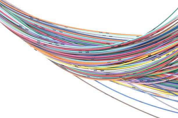 Multicolored fiber cables stock photo