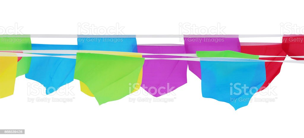 Multi-colored flags isolated on white background. Horizontal lines festive flags on the tape stock photo