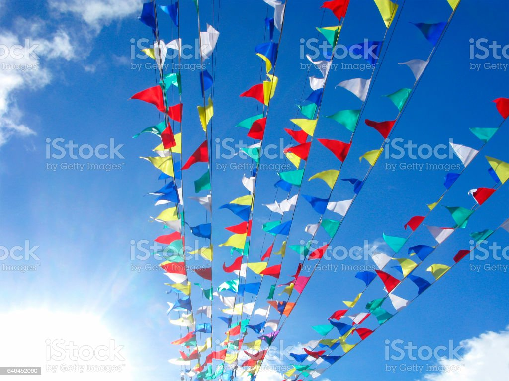 Multicolored flags stock photo