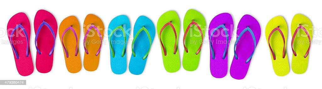 Multi-colored flip-flops stock photo
