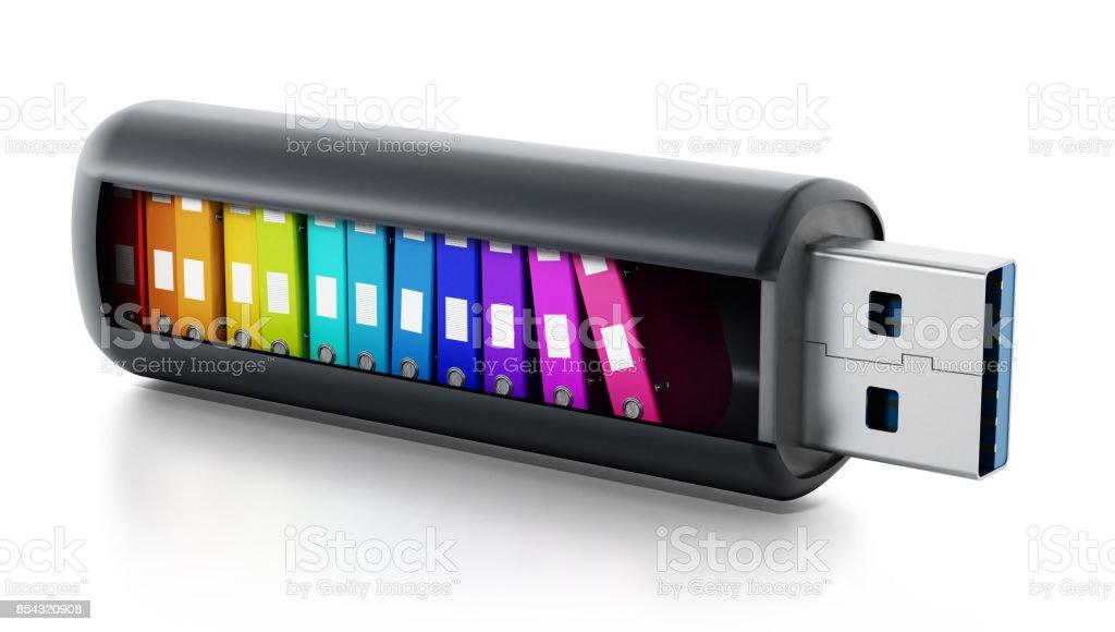 Mehrfarbige Ordner gestapelt in USB-Flash-Laufwerk – Foto