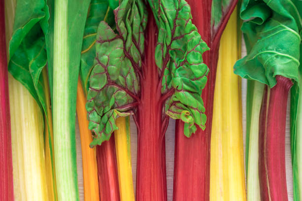 bunten frischen rüben verlässt. zutaten der neuen vegetarischen küche - mangoldgemüse stock-fotos und bilder