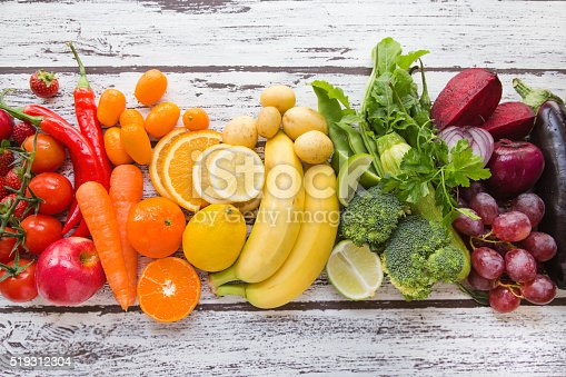 istock Multicolored fresh fruits and vegetables 519312304