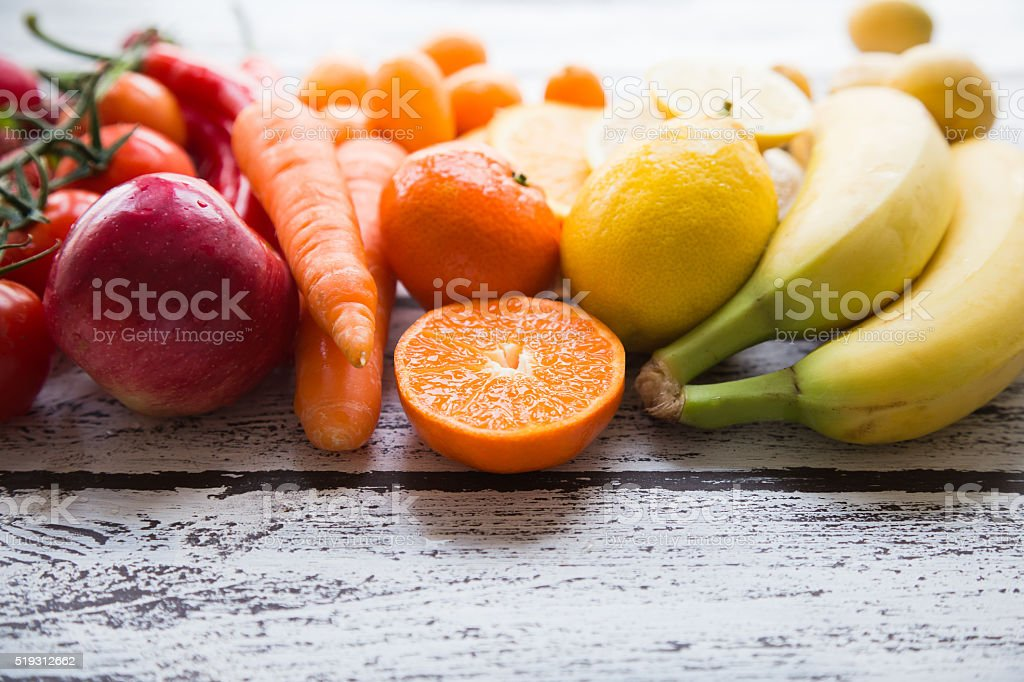 Multicolored fresh fruits and vegetables stok fotoğrafı