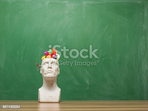 istock Multicolored Gears In Mannequin Head On Time Concept background 657430034