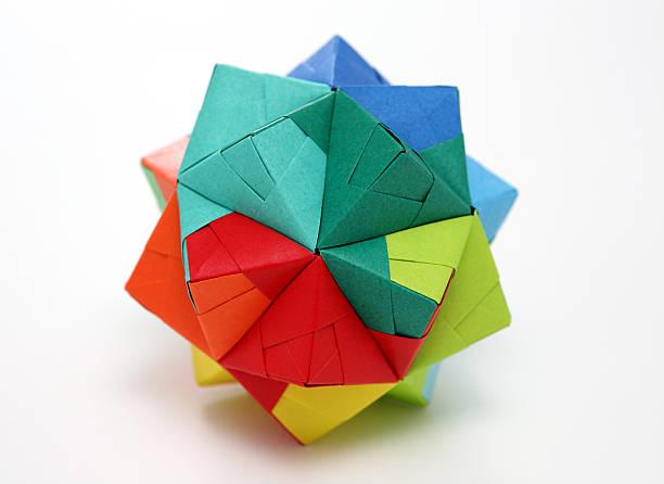 Multicolore origami bateau de papier géométriques Polyèdre - Photo