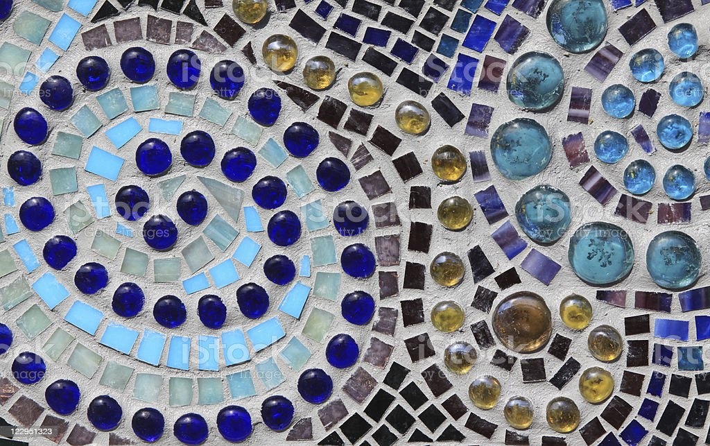 Multicolored Glass Mosaic with Swirl Pattern stock photo