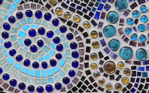 Multicolored Glass Mosaic With Swirl Pattern Stock Photo - Download Image Now