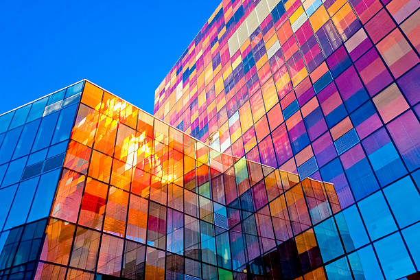 multi-colored glass wall - architecture stock photos and pictures