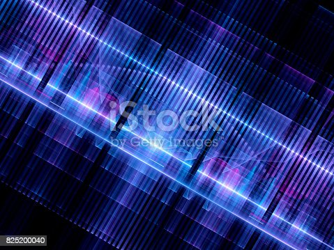 istock Multicolored glowing futuristic hardware chip 825200040