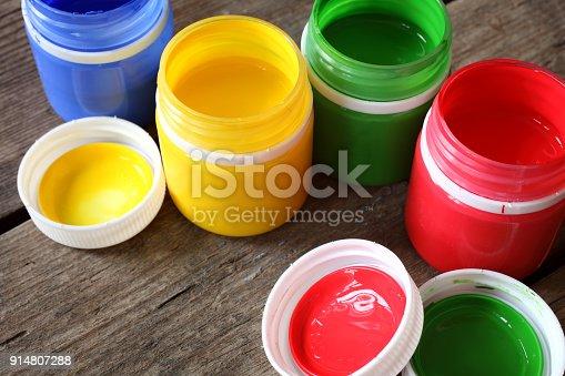 istock Multicolored gouache paint 914807288
