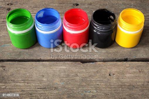 istock Multicolored gouache paint 914807316