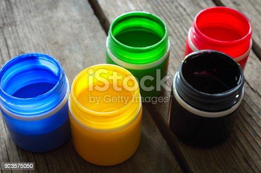 istock Multicolored gouache paint 923575050