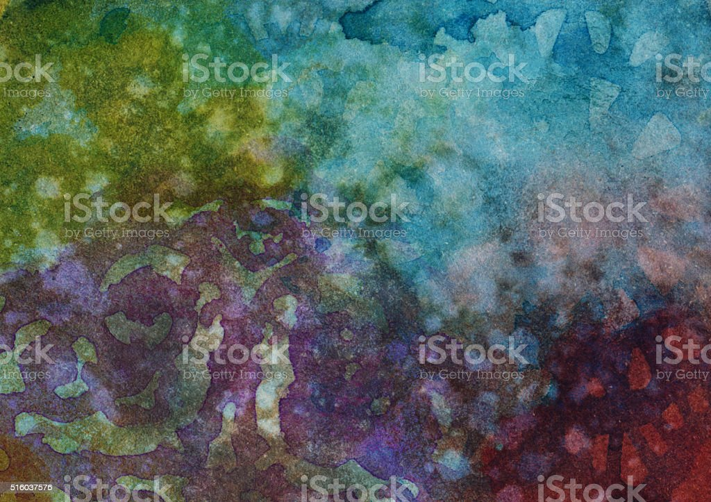 Multi-colored hand painted background with various textures stock photo
