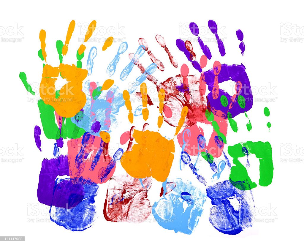 Multicolored handprints against white background royalty-free stock photo