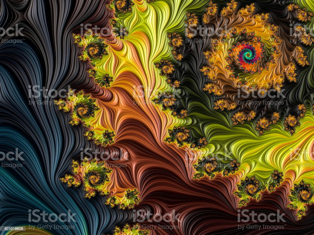 Multi-colored high resolution textured fractal background that reminds of a forest, as seen from above in a 60's album cover style. stock photo