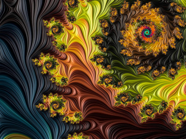 multi-gekleurde hoge resolutie getextureerde fractal achtergrond die aan een forest herinnert, zoals in een 60 's album cover stijl van bovenaf gezien. - fractal stockfoto's en -beelden