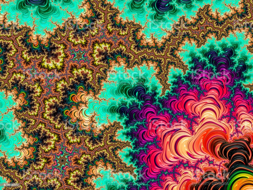 Multi-colored high resolution textured fractal background, which reminds of a forest tree canopy, 60's style. stock photo