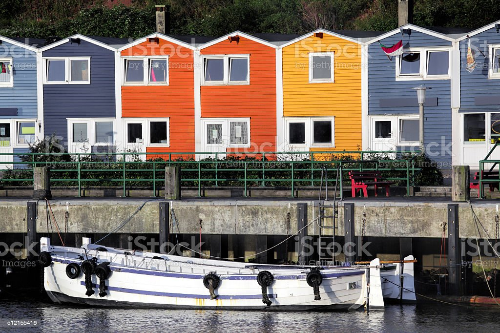 Multicolored houses at harbor of island Helgoland stock photo