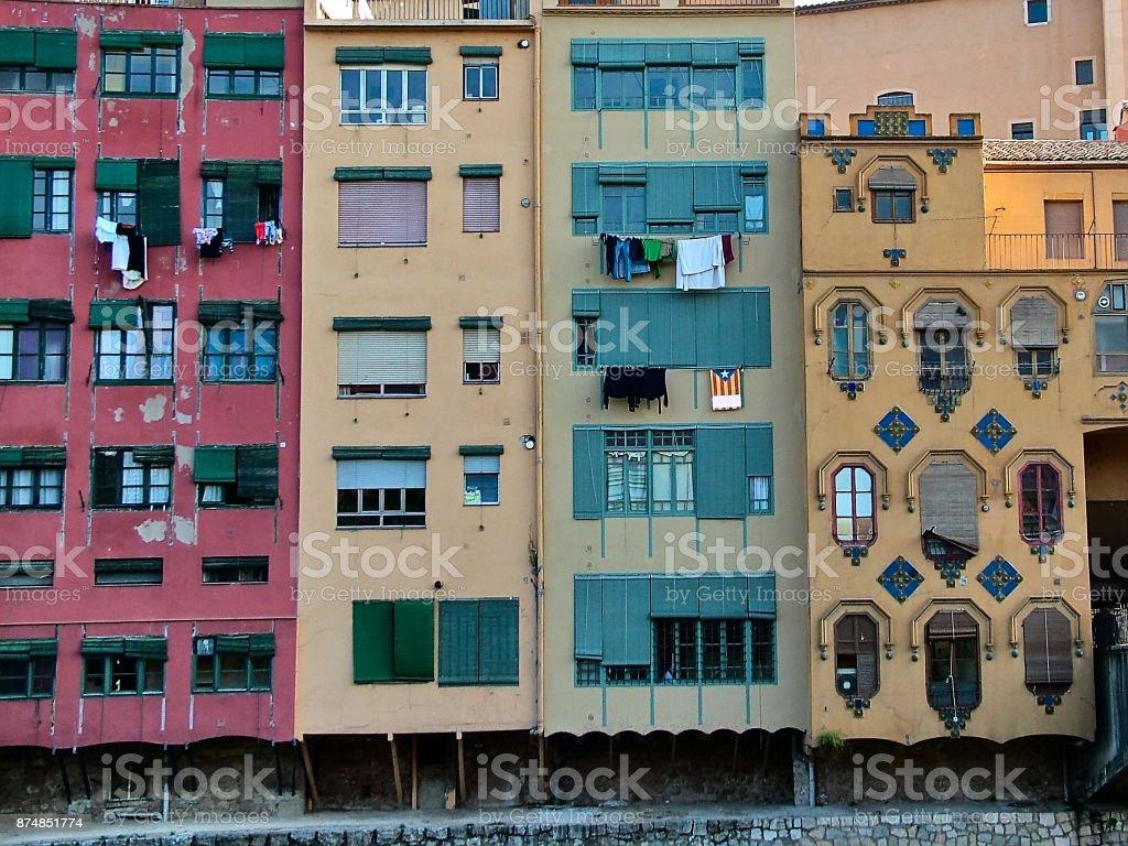 Multicolored houses in Girona, Catalonia,  Spain stock photo