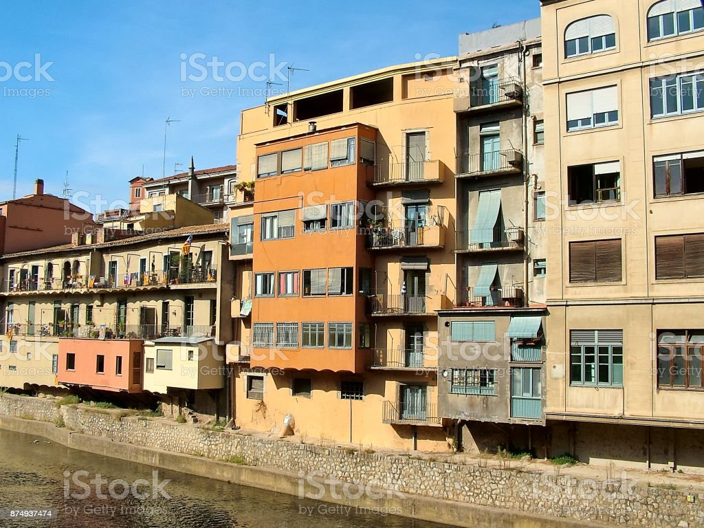 Multicolored houses in Girona in Spain stock photo