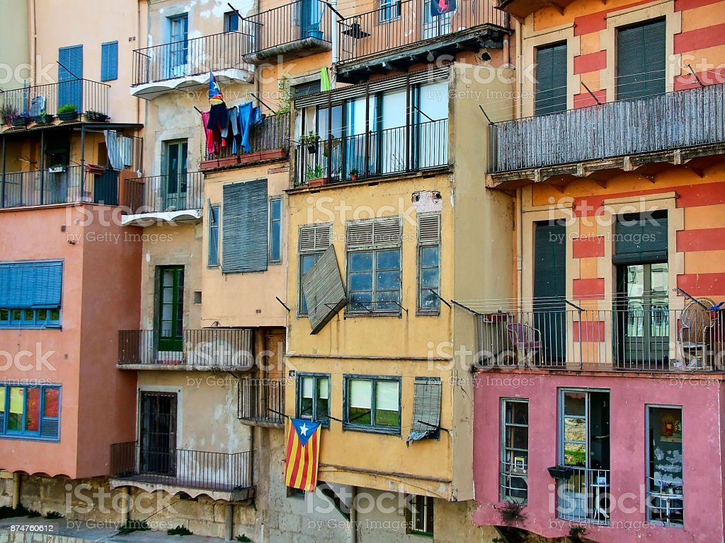 Multicolored houses in Girona, Spain stock photo