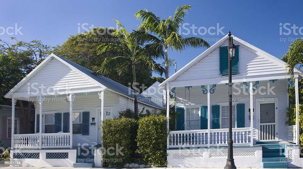 Multicolored houses in Key West, Florida royalty-free stock photo