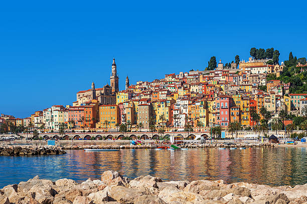 Multicolored houses of Menton, France. stock photo
