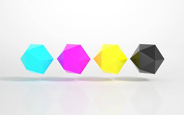 CMYK-mehrfarbigen Icosahedrons – Foto