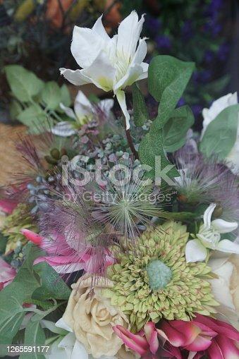 Multicolored imitation flowers