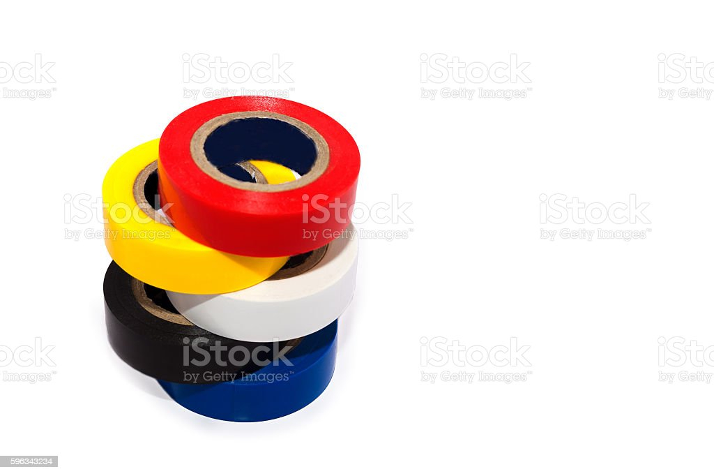 Multicolored insulating tapes roll on white background with soft shadows royalty-free stock photo