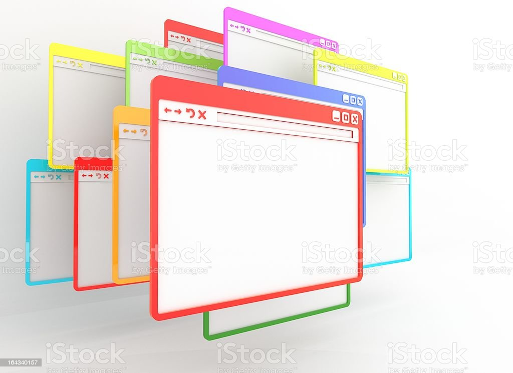 multicolored internet browser windows stock photo