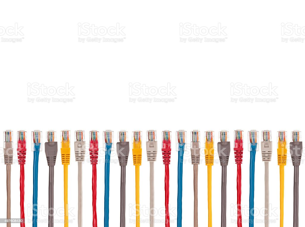 Multicolored internet cables are arranged parallel in a row stock photo