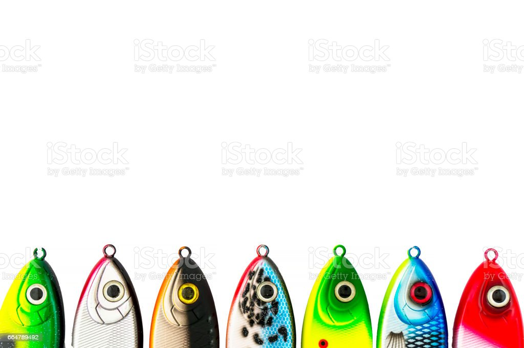 Multicolored jerkbaits on the pike. stock photo