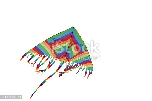 multicolored kite on white background  without people