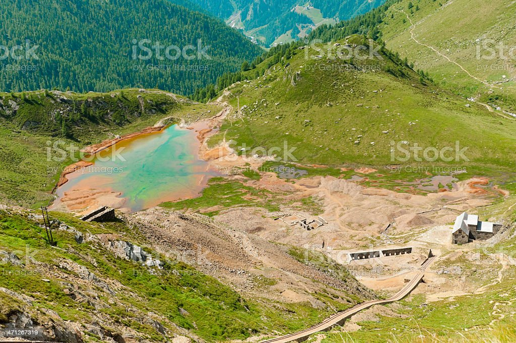 Multicolored lake near an abandoned mine royalty-free stock photo