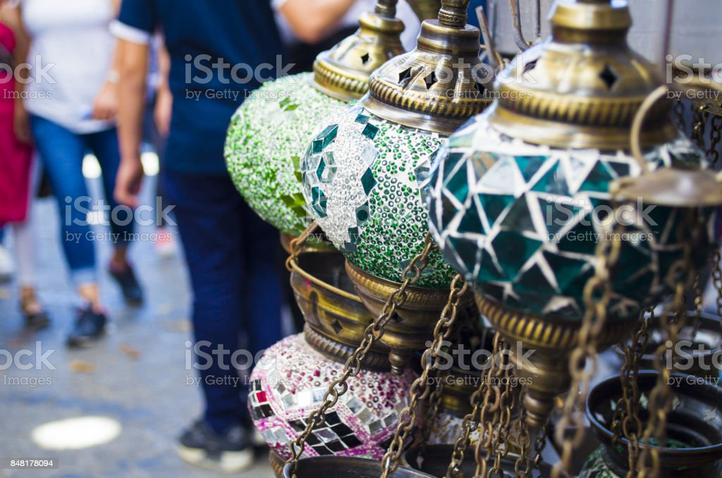 Multi-colored lamps hanging at the Grand Bazaar in Istanbul stock photo
