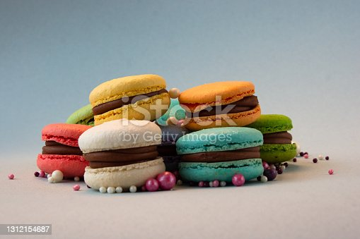 istock Multicolored macarons with beads. 1312154687