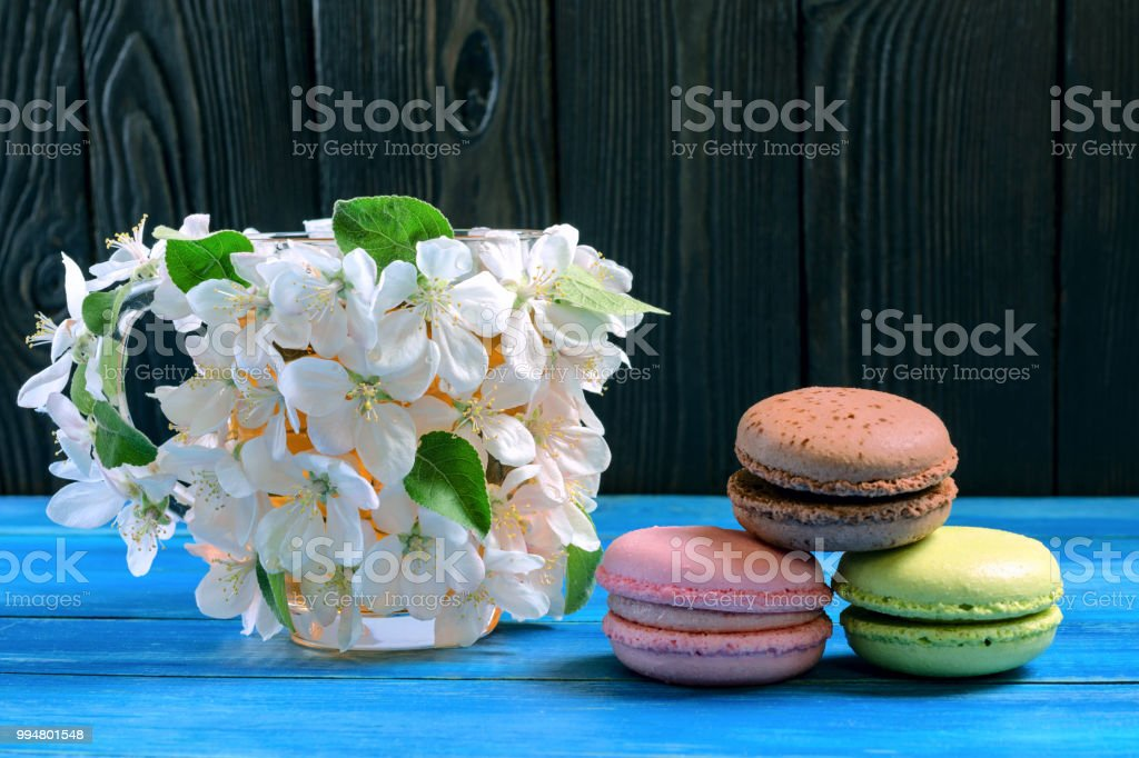 Multicolored Macaroons And Cup Decorated With White Flowers Of Apple