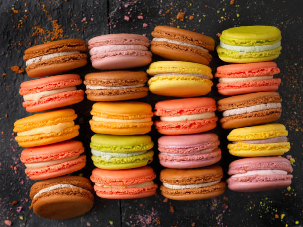 Multicolored Macaroons stock photo