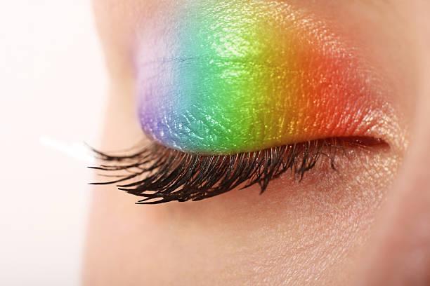 mehrfarbigen make-up - regenbogen make up stock-fotos und bilder