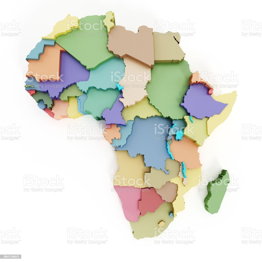 Multi-colored map of Africa showing country borders stock photo