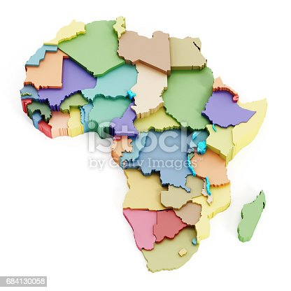 istock Multi-colored map of Africa showing country borders 684130058