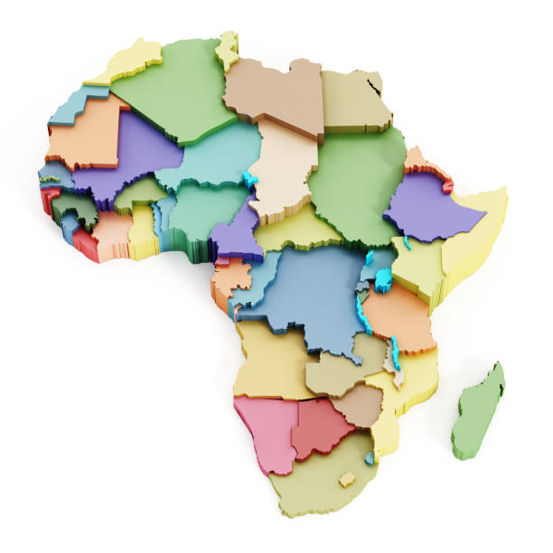 multi-colored map of africa showing country borders - horn of africa stock photos and pictures