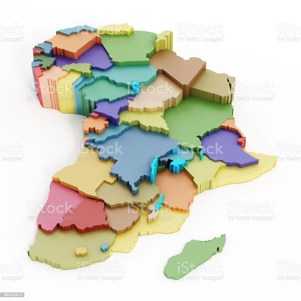 Multi-colored map of Africa showing country borders foto stock royalty-free