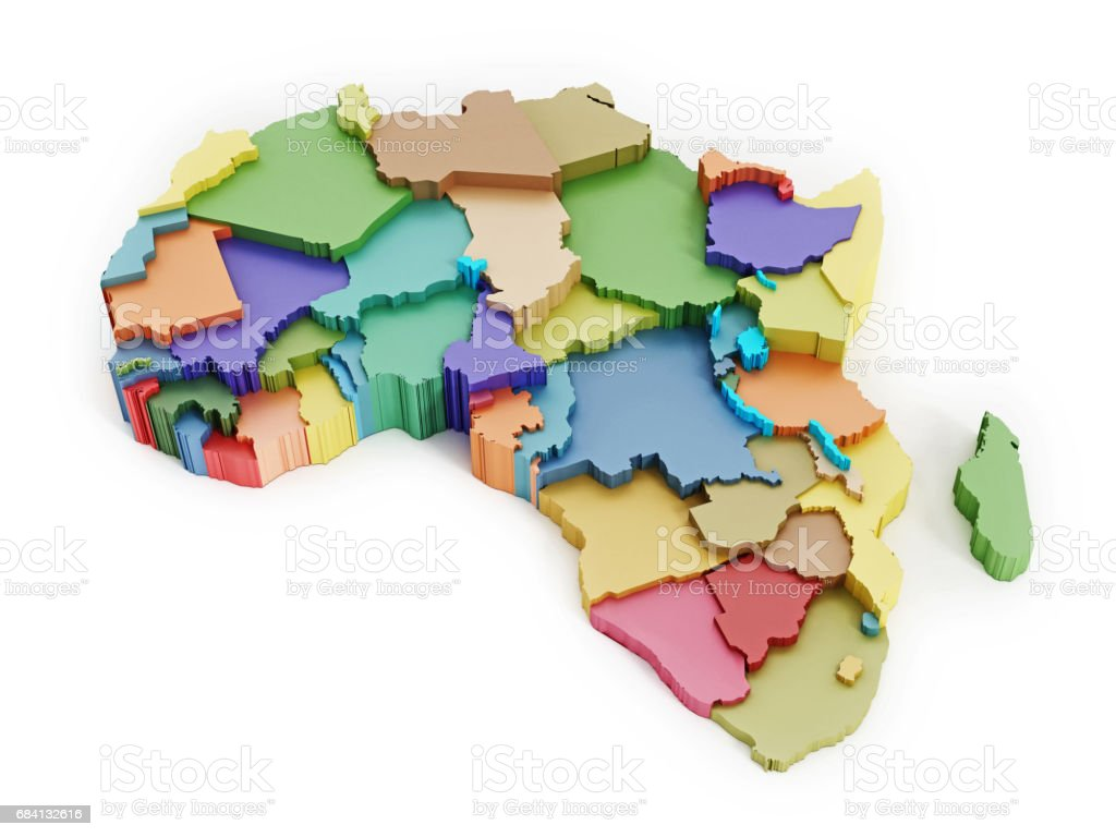 Multi-colored map of Africa showing country borders zbiór zdjęć royalty-free