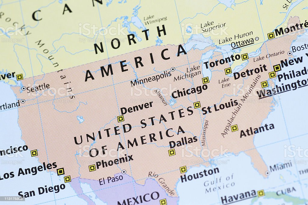 Multicolored Map Of Usa Canada Mexico With Cities Stock Photo - Map of usa and canada with cities