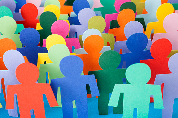 multicolored men crowd - stick figure stock photos and pictures