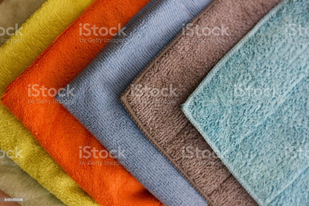 Multicolored microfibre cleaning napkin stock photo